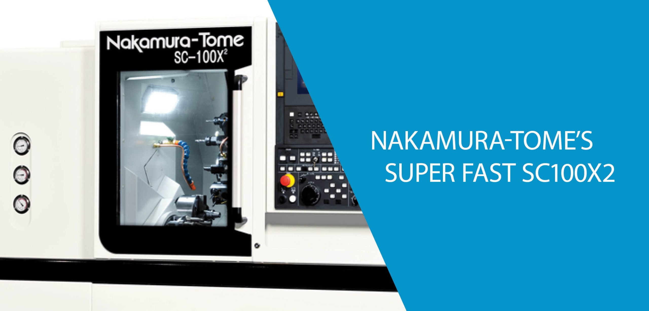 Nakamura's SC100X2 High Repetition, High Precision Machine This single turret, high precision, compact technology from Nakamura-Tome is ideal for precision machining. With fast programming and set-up this machine is easy to operate. Ideal for machining medical, construction communication components and general engineering. SC-100X2 is 41% faster than SC-100, reduce your cycle times. X-axis and Z-axis are standard on R-spindle. Superimposed cycle is simultaneous machining through overlapping control between L-spindle and R-spindle. Watch the Spindle in Action Download the SC100X2 Brochure. Read more about Nakamura-Tome Horizontal Lathes. [activecampaign form=202]